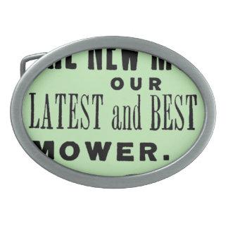ヴィンテージの芝刈機広告 卵形バックル