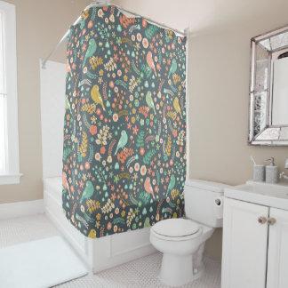 ヴィンテージの花および鳥パターンシャワー・カーテン シャワーカーテン