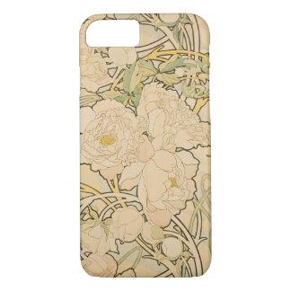 ヴィンテージの花のアルフォンス島のミュシャのシャクヤクGalleryHD iPhone 8/7ケース