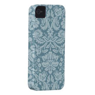 ヴィンテージの花のアールヌーボーの青緑パターン Case-Mate iPhone 4 ケース