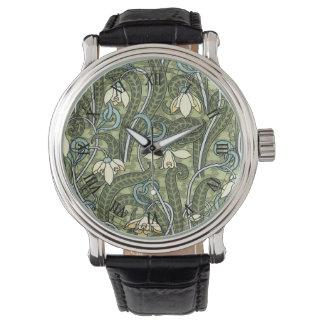 ヴィンテージの花のアールヌーボーSnowdropの花 腕時計