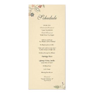 ヴィンテージの花のエッジングのスケジュール カード
