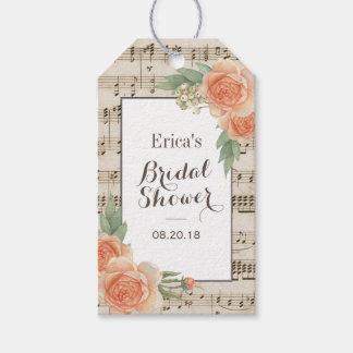ヴィンテージの花のエレガントな音楽的なブライダルシャワー ギフトタグ