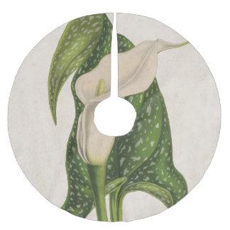 ヴィンテージの花のオランダカイウユリの緑はクローズアップを残します ブラッシュドポリエステルツリースカート