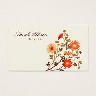 ヴィンテージの花のオレンジ、赤い浅い黄色の背景 名刺