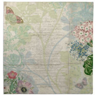 ヴィンテージの花のコラージュのナプキン ナプキンクロス