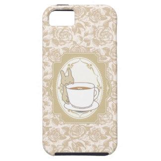 ヴィンテージの花のコーヒー及びウサギのiPhone 5の場合 iPhone SE/5/5s ケース