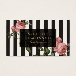 ヴィンテージの花のストライプのなサロンの黒およびアイボリー 名刺