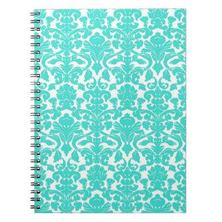 ヴィンテージの花のターコイズのダマスク織のノート ノートブック