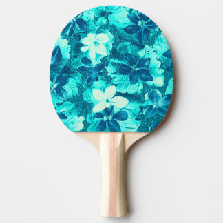 ヴィンテージの花のターコイズのティール(緑がかった色)の孔雀のバイオレット 卓球ラケット