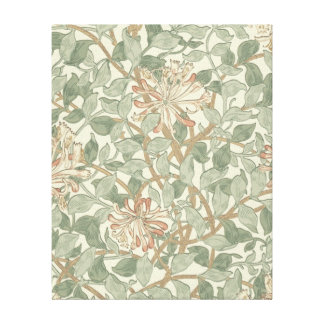 ヴィンテージの花のハニーサックルパターン キャンバスプリント