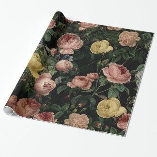 ヴィンテージの花のバラおよびアイリスパターン暗い夢 ラッピングペーパー