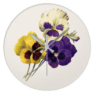 ヴィンテージの花のパンジーの時計 ラージ壁時計