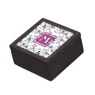 ヴィンテージの花のピンクのバラのモノグラムの記念品箱 ギフトボックス