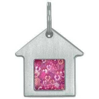 ヴィンテージの花のピンクのパンジーのペットタグ ペットネームタグ