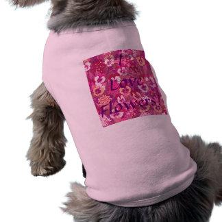 ヴィンテージの花のピンクのパンジーペットTシャツ ペット服