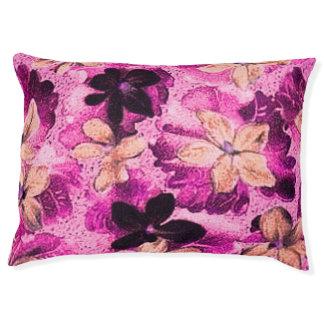 ヴィンテージの花のピンクベージュ紫色のバイオレットの花 ペットベッド
