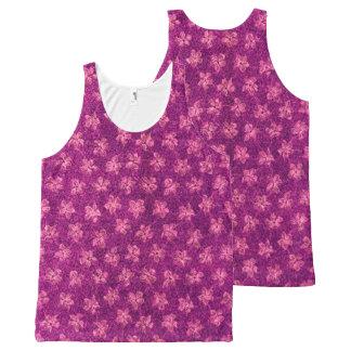 ヴィンテージの花のマゼンタのピンク オールオーバープリントタンクトップ