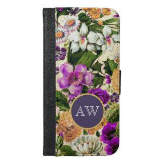ヴィンテージの花のモノグラムの花柄の国 iPhone 6/6S PLUS ウォレットケース