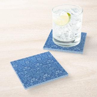 ヴィンテージの花のヤグルマギクの青 ガラスコースター