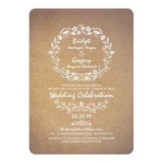 ヴィンテージの花のリースのエレガントな結婚式招待状 12.7 X 17.8 インビテーションカード