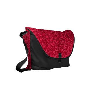 ヴィンテージの花のルビー色のクランベリーの赤の花 クーリエバッグ