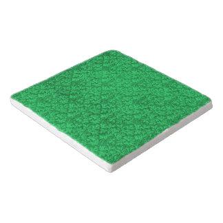 ヴィンテージの花のレースの葉のエメラルドグリーン トリベット