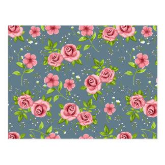 ヴィンテージの花のローズピンクの緑パターン ポストカード