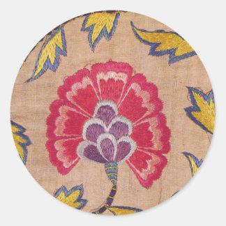 ヴィンテージの花の刺繍によって編まれる織物のピンクの麻布 ラウンドシール