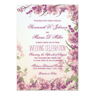 ヴィンテージの花の庭園の結婚式の招待状 カード
