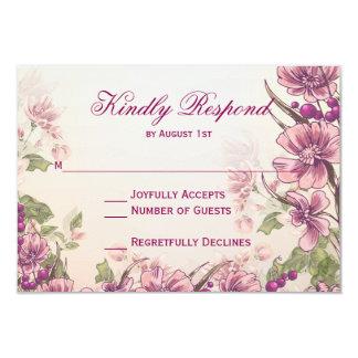ヴィンテージの花の庭園の結婚式RSVPカード カード