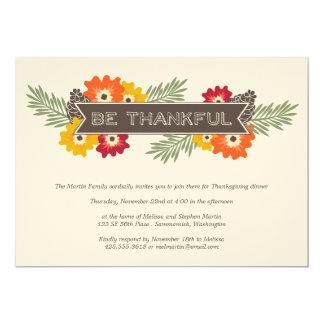 ヴィンテージの花の感謝祭の招待状 カード