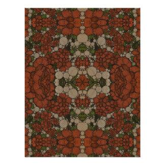 ヴィンテージの花の抽象芸術パターン レターヘッド