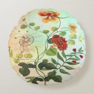 ヴィンテージの花の植物の絵によっては芸術が開花します ラウンドクッション