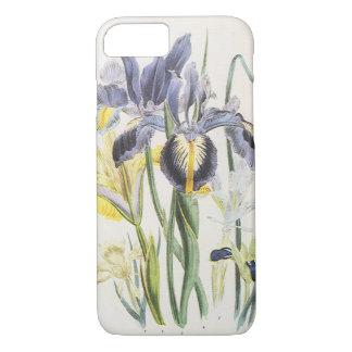 ヴィンテージの花の植物学、庭のアイリス花 iPhone 8/7ケース