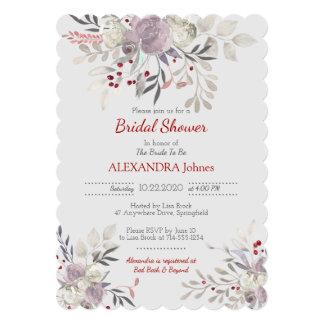 ヴィンテージの花の水彩画の植物のブライダルシャワー 12.7 X 17.8 インビテーションカード