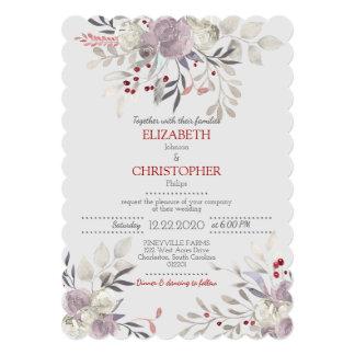 ヴィンテージの花の水彩画の植物の結婚式2 12.7 X 17.8 インビテーションカード