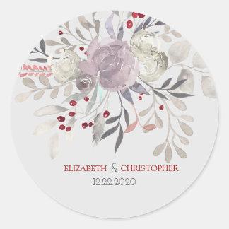ヴィンテージの花の水彩画の植物の結婚式 ラウンドシール