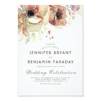 ヴィンテージの花の水彩画の秋の結婚式 カード