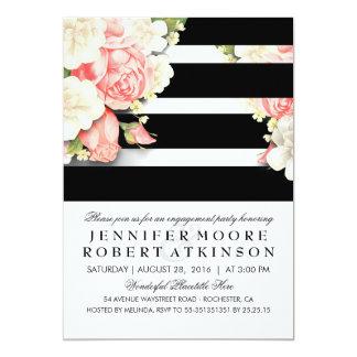 ヴィンテージの花の白黒の婚約パーティ カード