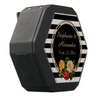 ヴィンテージの花の白黒ストライプな名前入り ブラックBluetoothスピーカー