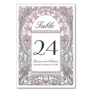 ヴィンテージの花の結婚式のテーブルは番号を付けますV (v.2)に カード