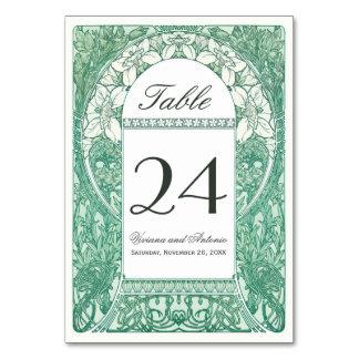 ヴィンテージの花の結婚式のテーブルは番号を付けますV (v.4)に カード