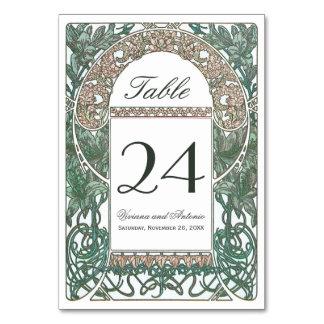 ヴィンテージの花の結婚式のテーブル数I カード