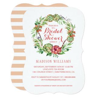 ヴィンテージの花の結婚式のSucculent |のブライダルシャワー カード