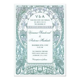 ヴィンテージの花の結婚式招待状V (v.3) カード