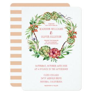 ヴィンテージの花の緑及びピンクのSucculent結婚する| カード
