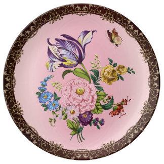 ヴィンテージの花の花束の装飾的な磁器皿 磁器プレート