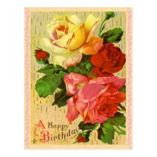 ヴィンテージの花の誕生日の郵便はがき ポストカード