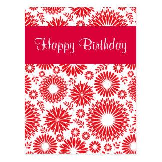 ヴィンテージの花の赤いハッピーバースデーの郵便はがき ポストカード